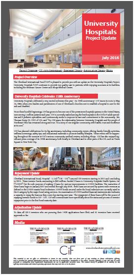 2016年7月克利夫兰大学医院项目进展报告