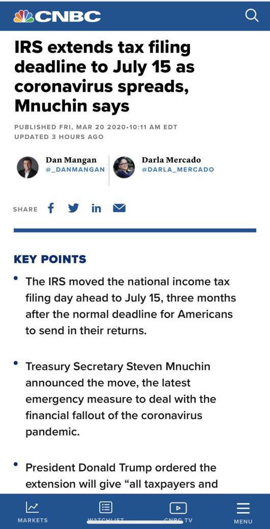 世贸通美国移民收藏:美国税务局延长报税期